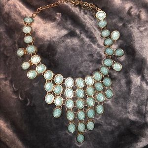 Teal sparkly Statement necklace
